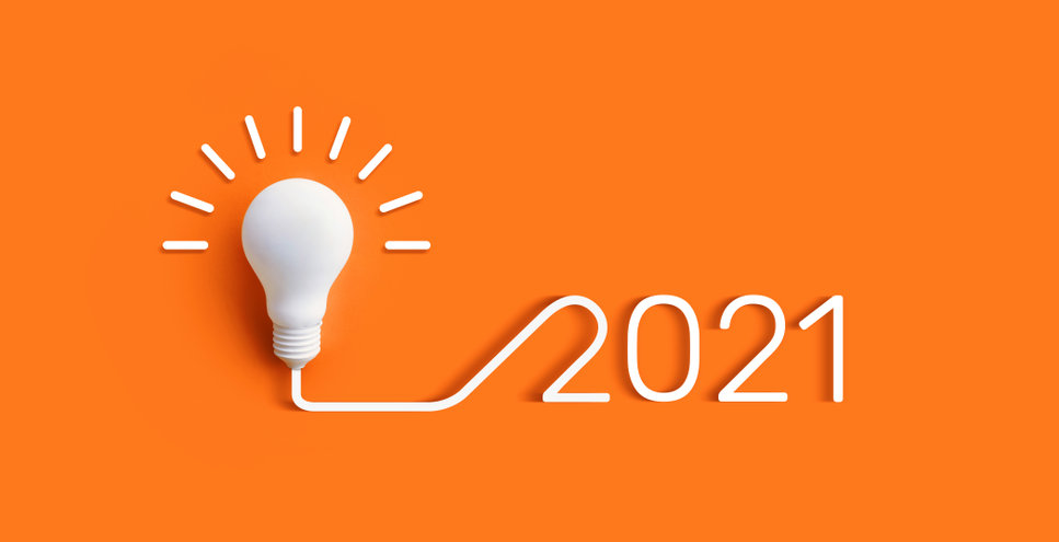 2021 Creativity and Inspiration ideas concepts with lightbulb